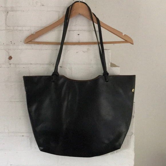 72563742712b Simple  Chic Black Vegan Leather Tote Bag